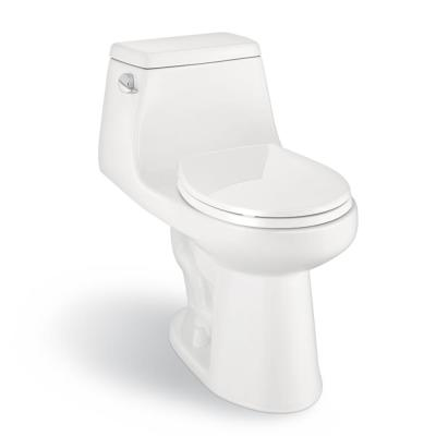 1-Piece 1.28 GPF High Efficiency Single Flush Round Front Toilet in White, Seat Included
