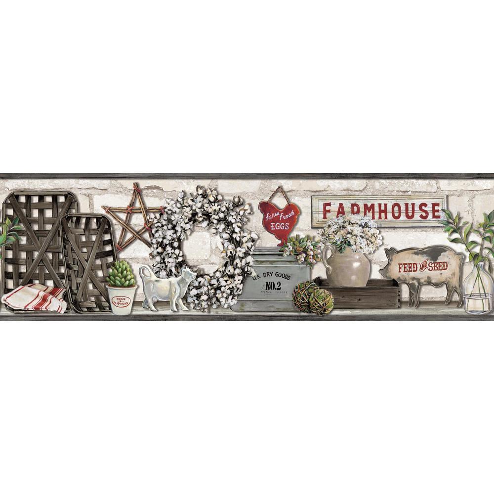 Farmhouse Shelf Wallpaper Border