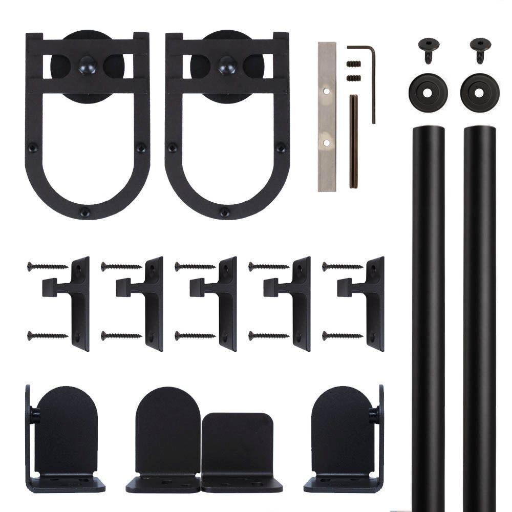 Horseshoe Black Rolling Door Hardware Kit for 3/4 in. to 1-1/2 in. Door