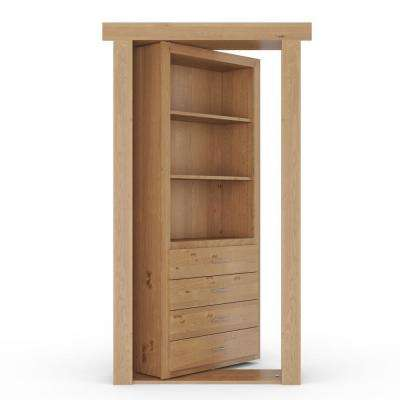 36 in. x 80 in. Flush Mount Assembled Dresser Door Alder Natural Stained Left-Hand Outswing