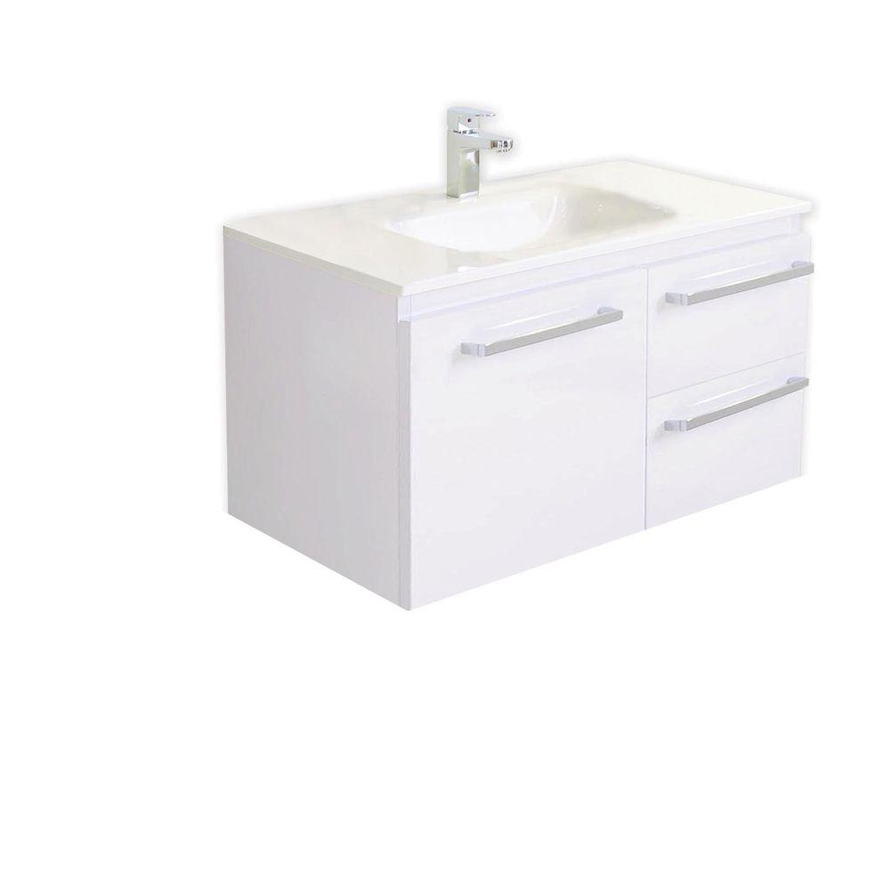 Architectural Designer Products Diana Collection Twin 900 35-1/2 in. Vanity in White with Poly-Marble Vanity Top in White-DISCONTINUED