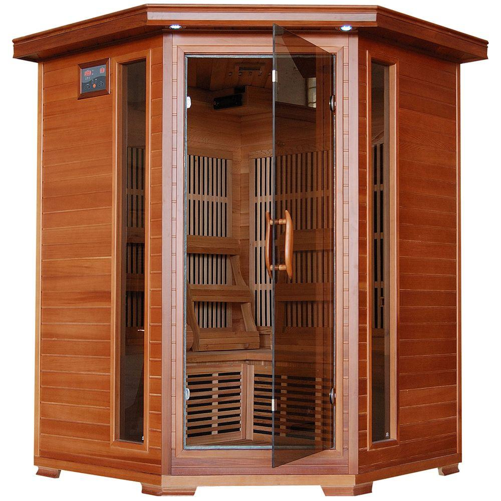 3-Person Cedar Corner Infrared Sauna with 7 Carbon Heaters