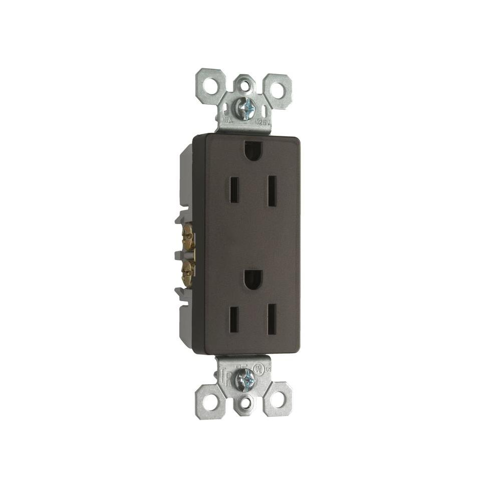 15 Amp Tamper Resistant Decorator Duplex Outlet - Dark Bronze
