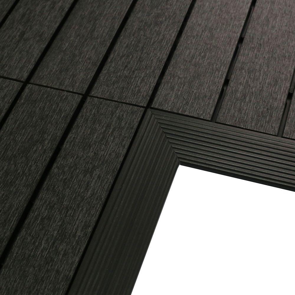 1/6 ft. x 1 ft. Quick Deck Composite Deck Tile Inside Corner Fascia in Hawaiian Charcoal (2-Pieces/Box)