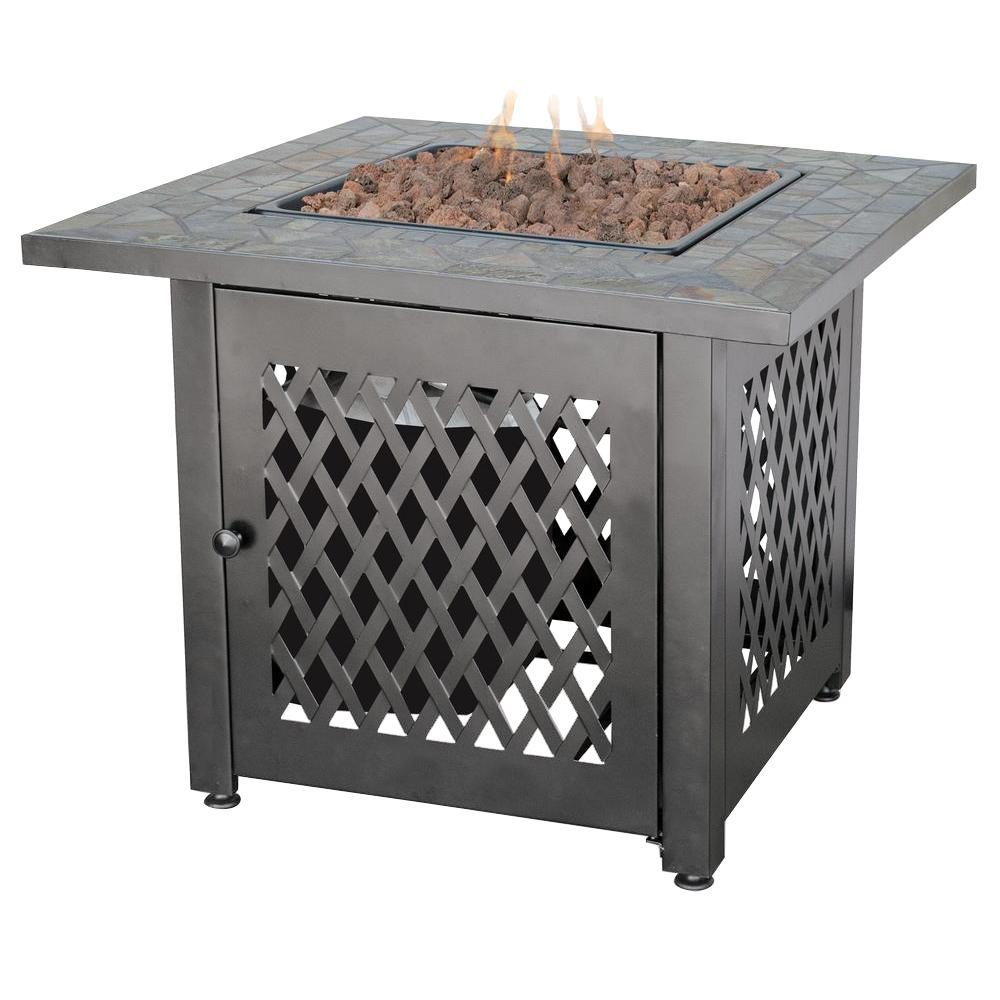 Steel LP Fire Pit With Slate Mantel