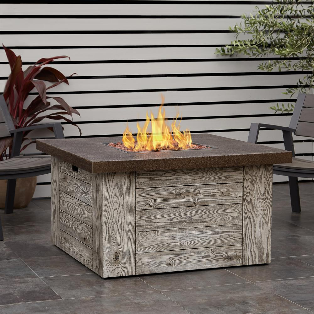 Fiber Cast Concrete Propane Fire Pit Table In Weathered Gray Part 88