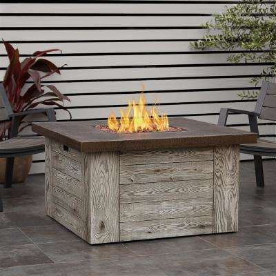 Beau Fiber Cast Concrete Propane Fire Pit Table In Weathered Gray