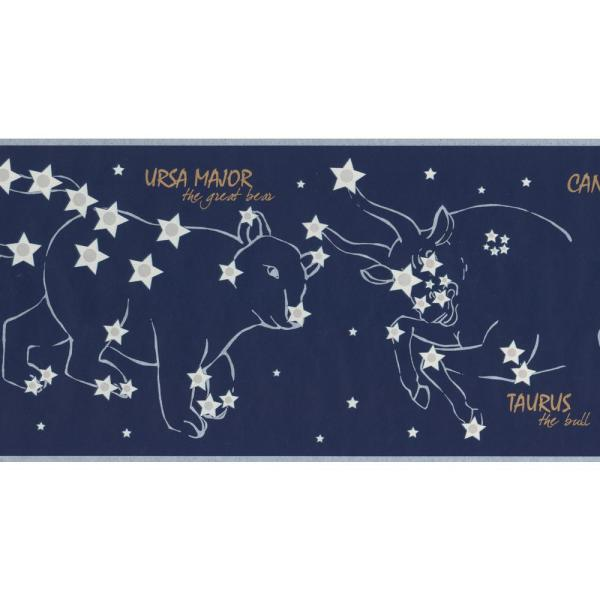 Night Sky With Marked Constellations Stars Navy Blue Prepasted Wallpaper Border