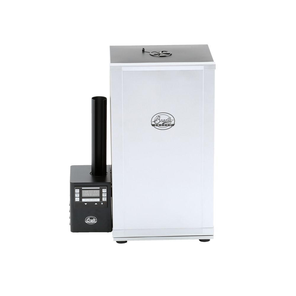 Bradley Smoker 31 in. Vertical 4-Rack Digital Electric Smoker The Bradley Smoker 572 sq. in. 4-Rack Digital Smoker allows for completely controllable temperature, time and smoke settings for ease of use. An automatic wood feed system keeps the smoker running with or without your assistance for low-maintenance operation. This smoker makes it easy to roast, smoke and barbecue your favorite foods outdoors.
