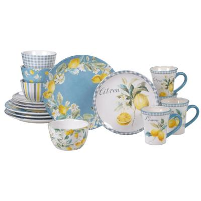 Citron 16-Piece Multi-Colored Multicolored Dinnerware Set
