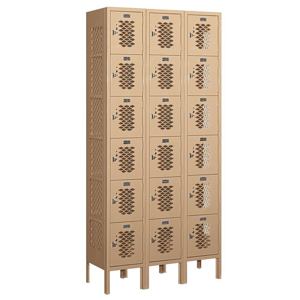Salsbury Industries 76000 Series 36 in. W x 78 in. H x 12 in. D Six Tier Box Style Vented Metal Locker Unassembled in Tan