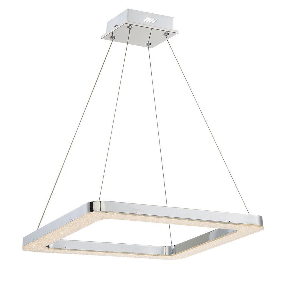 Zatina Collection 1-Light Square Chrome LED Pendant