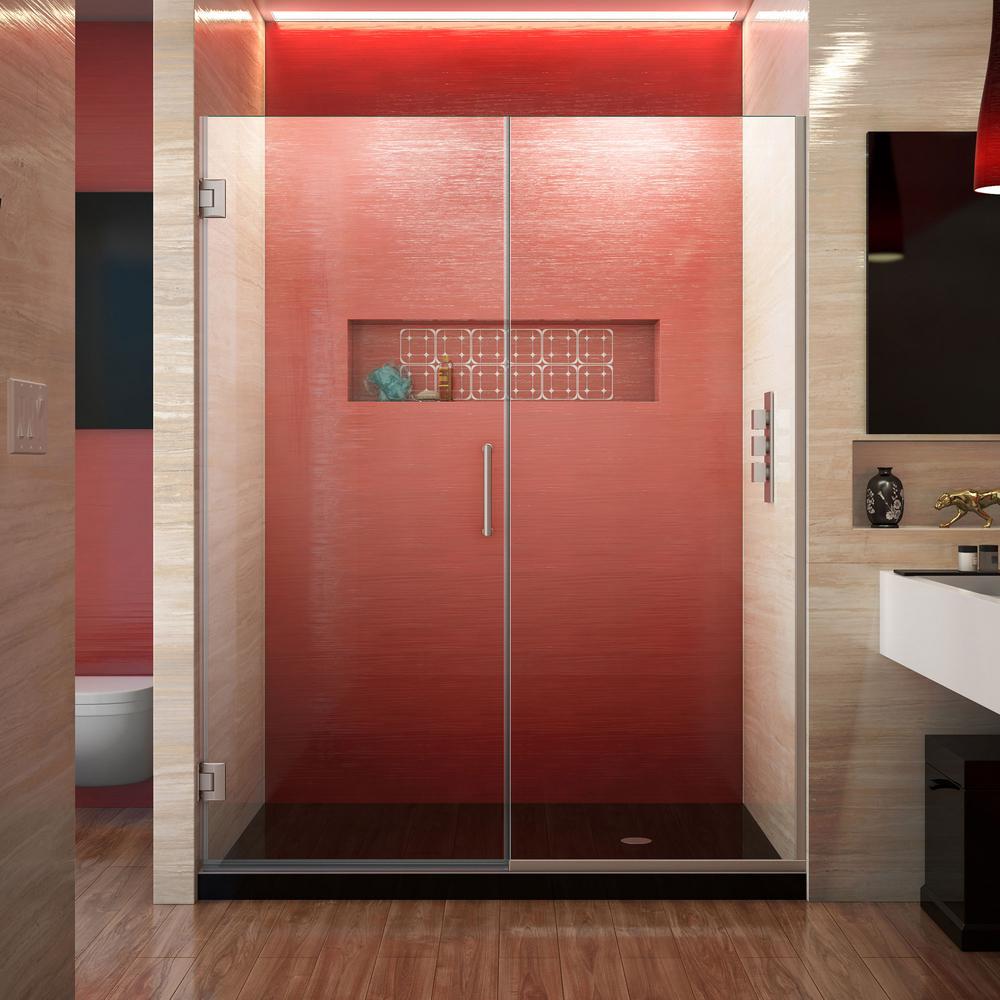 Unidoor Plus 53.5 to 54 in. x 72 in. Frameless Hinged Shower Door in Brushed Nickel