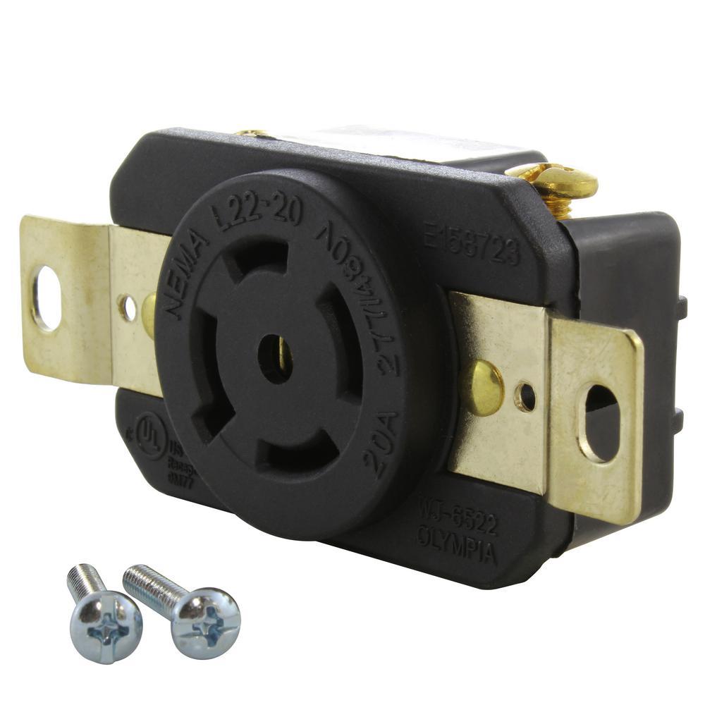 20 Amp 277-Volt/480-Volt Nema L22-20R Flush Mount Locking Industrial Grade Outlet