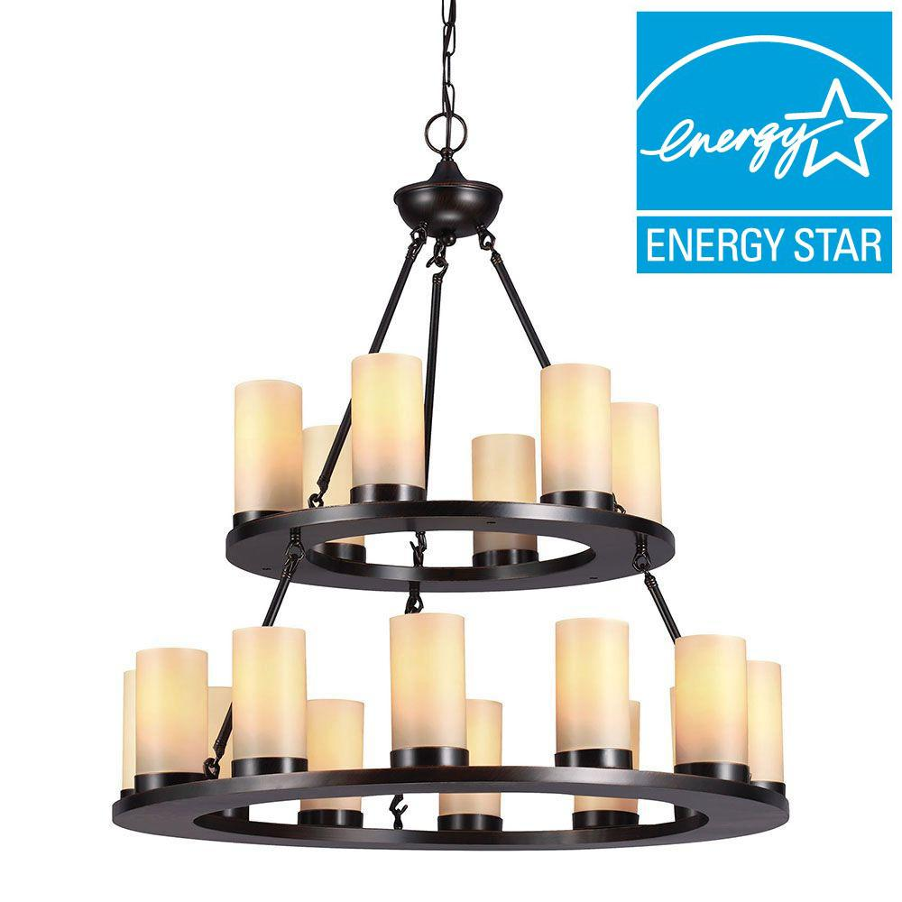 Sea Gull Lighting Ellington 18-Light Round Burnt Sienna Fluorescent Chandelier with Cafe Tint Candle Glass
