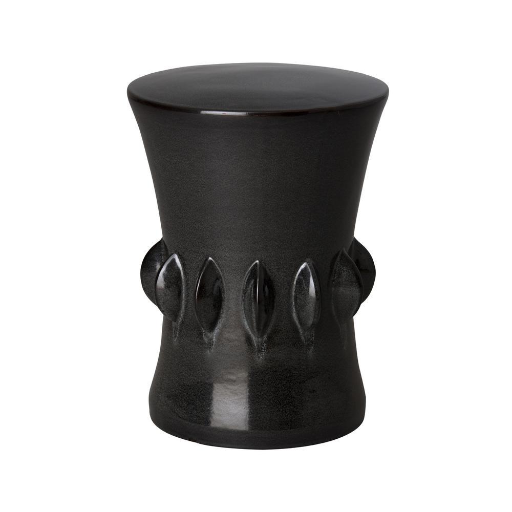 17.5 in. Jewel Dark Gray Ceramic Garden Stool