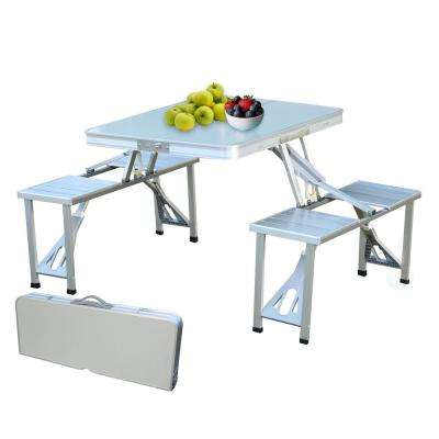 Gray Aluminum Portable Picnic Folding Table with 2-Benches