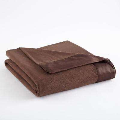 Full Queen Chocolate Year Round Polyester Sheet Blanket