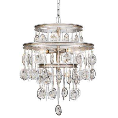 Charmed 7-Light Silver with Champagne Mist Chandelier with Clear Crystal Beads