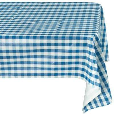 55 in. x 70 in. Indoor and Outdoor Blue Sunflower Design Table Cloth for Dining Table