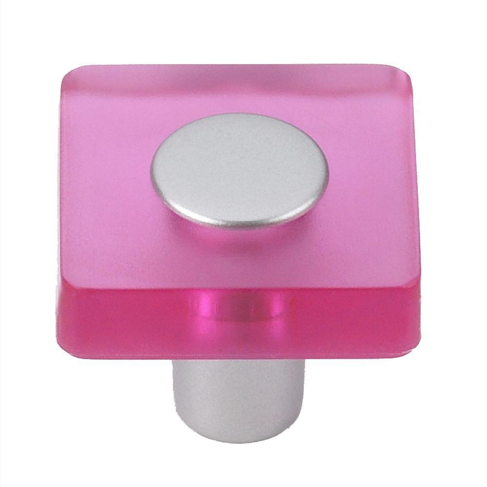 Pink/Matte Aluminum Square Cabinet Knob