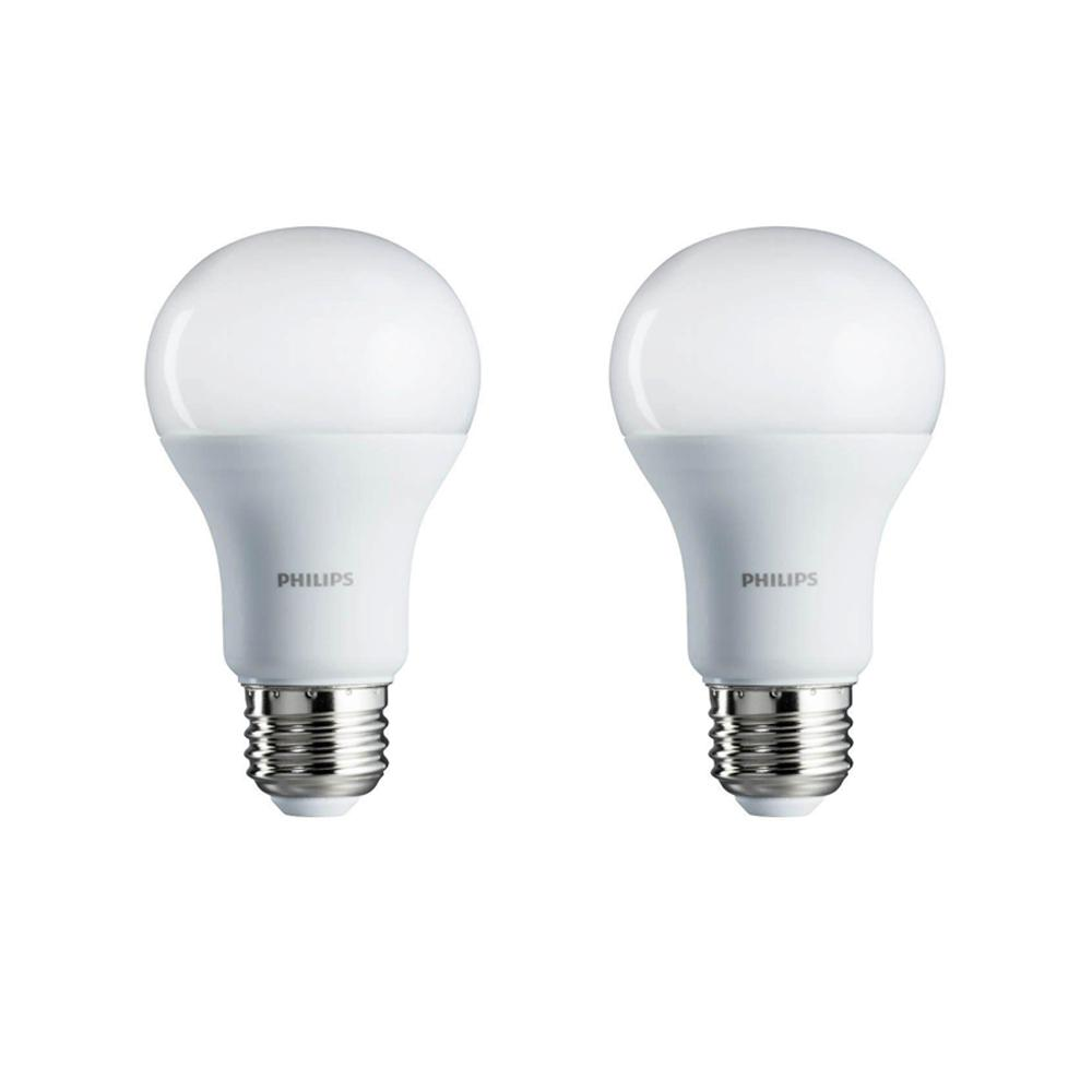 Philips 75-Watt Equivalent A19 Non-Dimmable Energy Saving LED Light Bulb Daylight (5000K) (2-Pack)