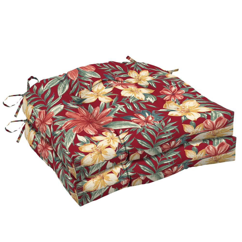 Arden Selections 20 in. x 18 in. Ruby Clarissa Tropical Rectangle Outdoor Seat Cushion (2-Pack)