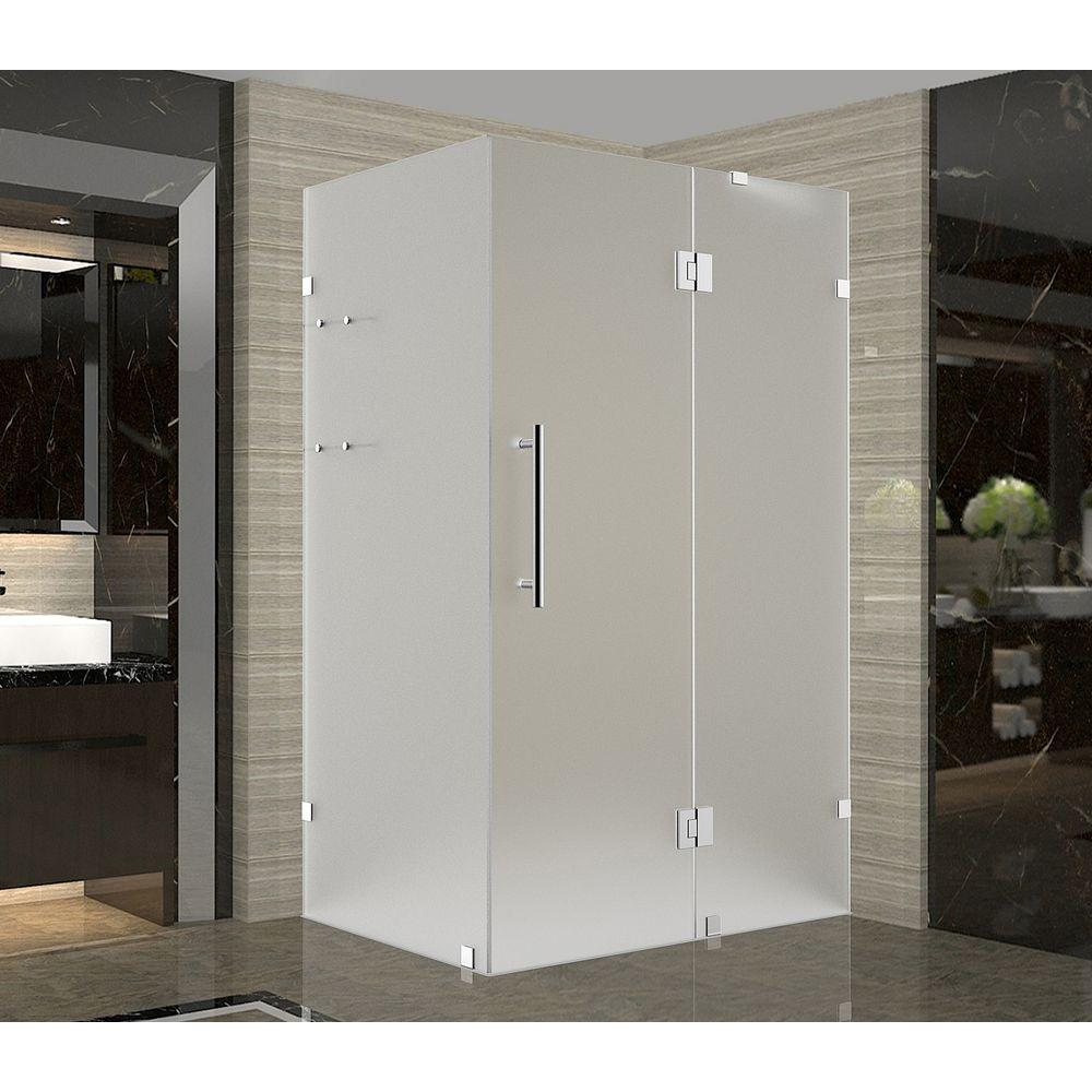 Aston Avalux GS 33 in. x 34 in. x 72 in. Frameless Hinged Shower Enclosure with Frosted Glass and Glass Shelves in Chrome