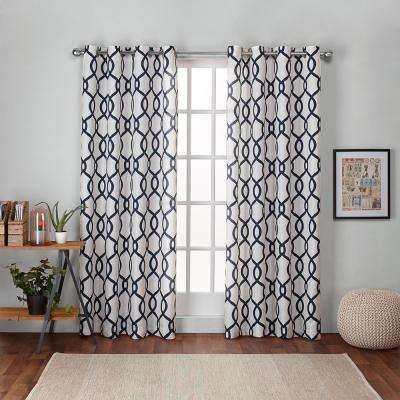 Kochi 54 in. W x 96 in. L Linen Blend Grommet Top Curtain Panel in Indigo (2 Panels)