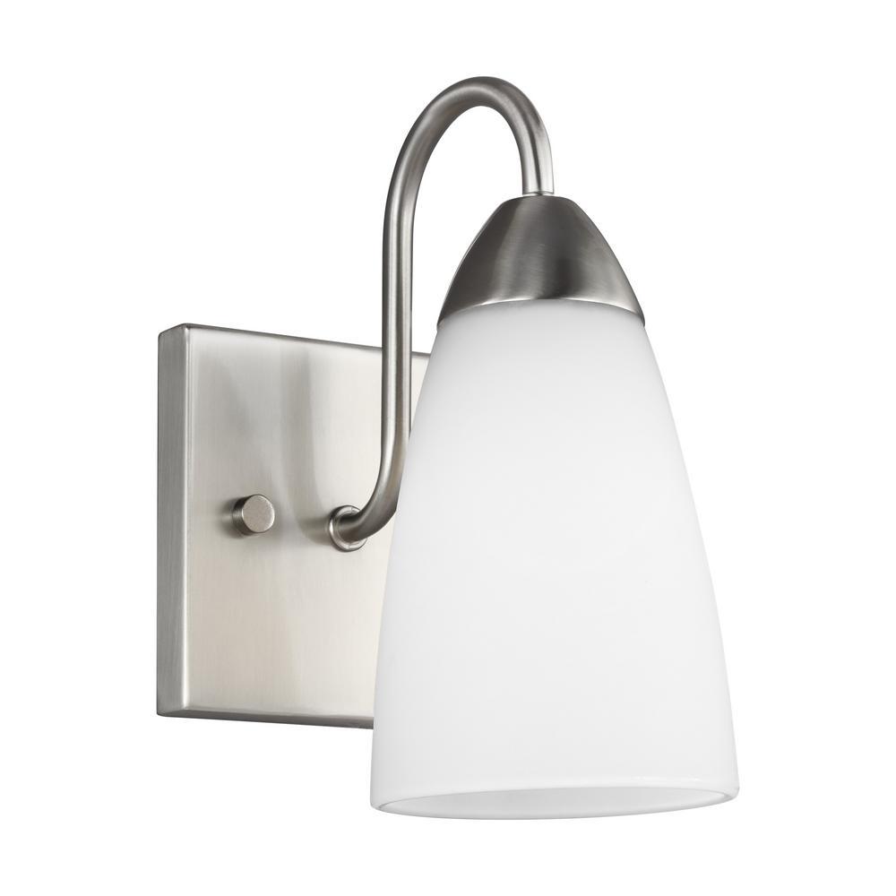 Sea Gull Lighting Seville 1-Light Brushed Nickel Sconce