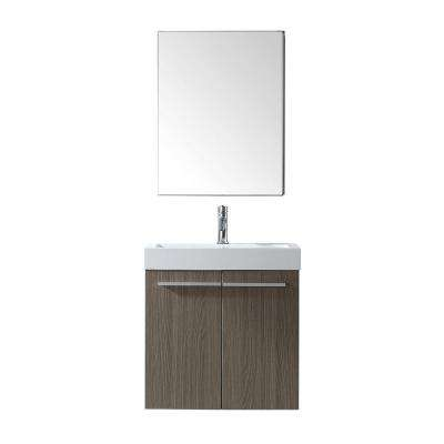 Midori 24 in. W Bath Vanity in Gray Oak with Polymarble Vanity Top in White with Square Basin and Mirror and Faucet