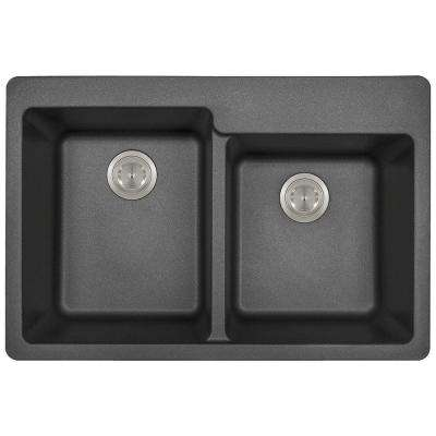 Drop-in Granite Composite 33 in. 3-Hole Offset Double Bowl Kitchen Sink in Black
