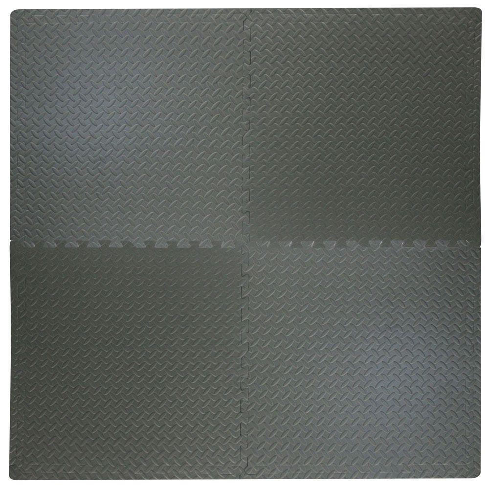 TrafficMASTER Best Step 24 in. x 24 in. x .47 in. Dark Grey All Purpose Flooring (4-Pack)