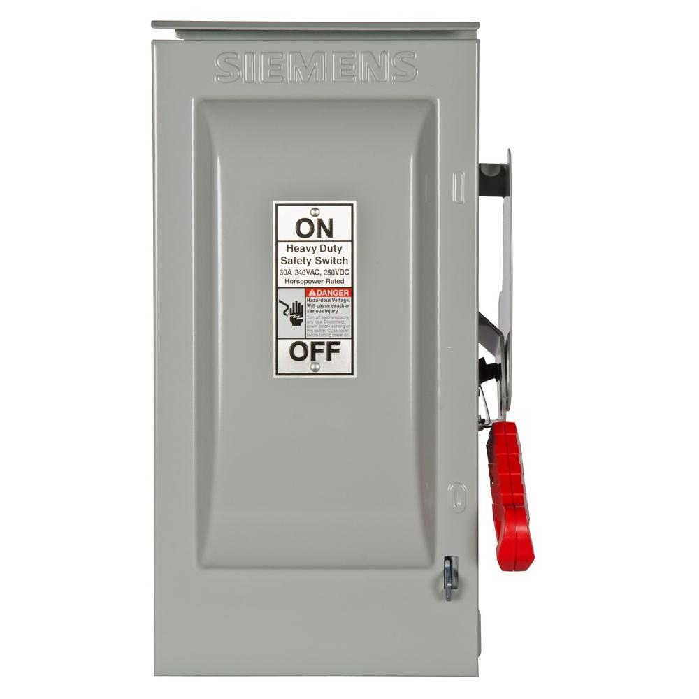 Heavy Duty 30 Amp 240-Volt 2-Pole Outdoor Fusible Safety Switch with