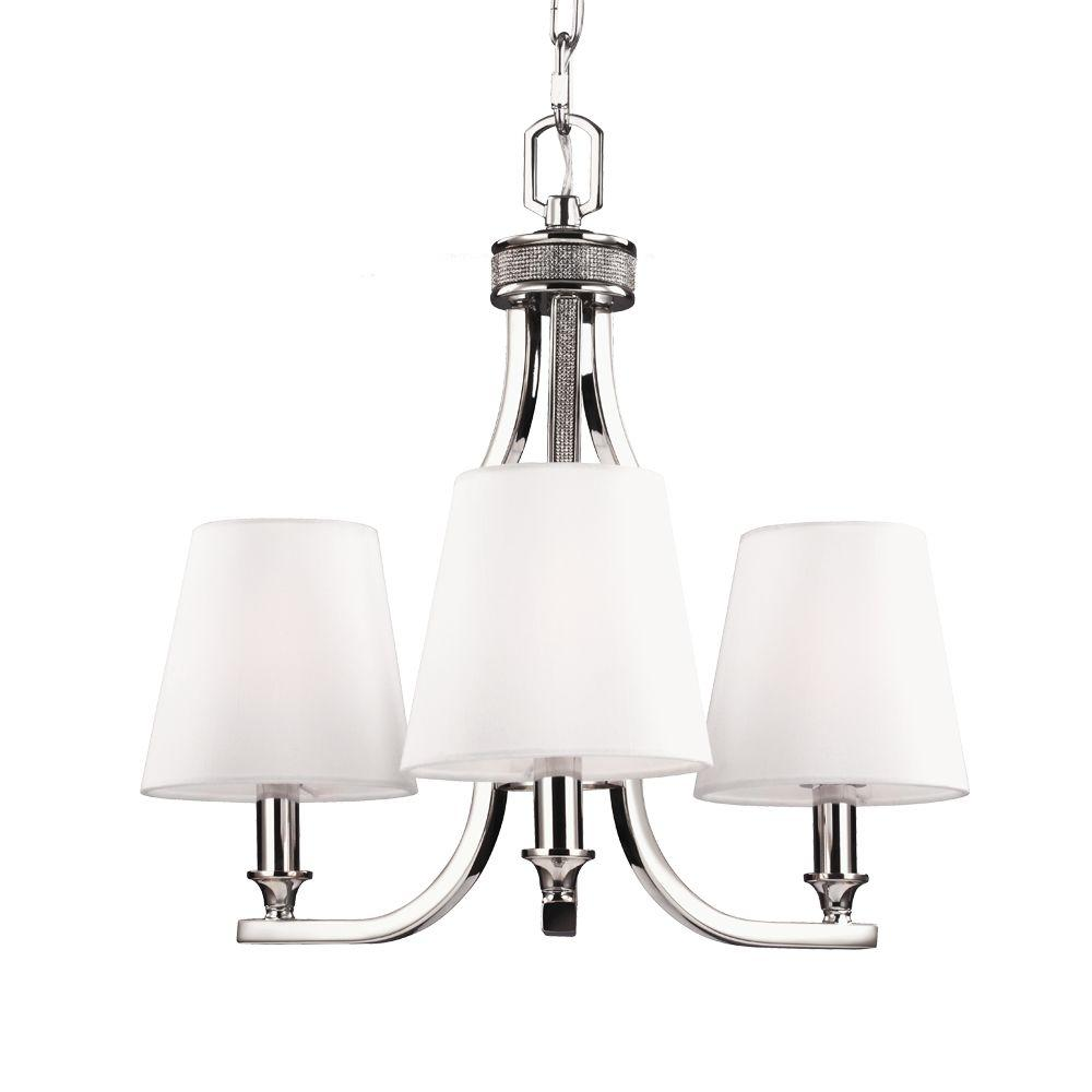 Feiss Pave 3-Light Polished Nickel Single Tier Chandelier Shade