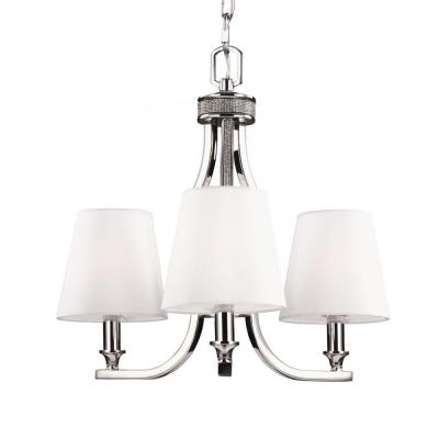 Pave 3-Light Polished Nickel Single Tier Chandelier Shade
