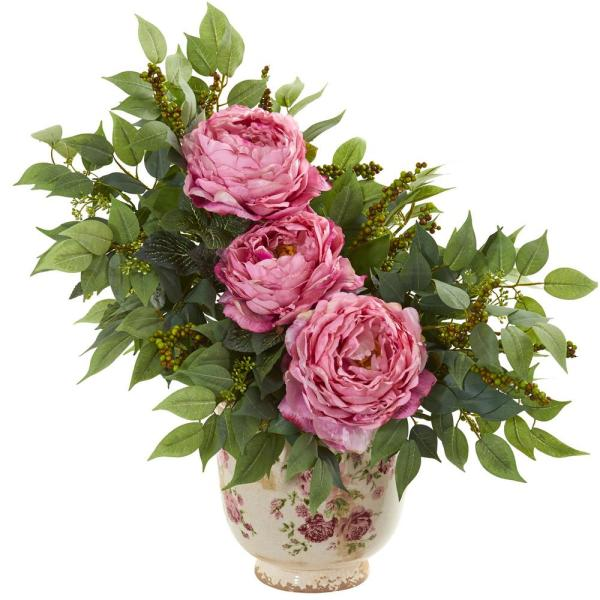 Nearly Natural Indoor Peony and Mixed Greens Artificial Arrangement in Vase