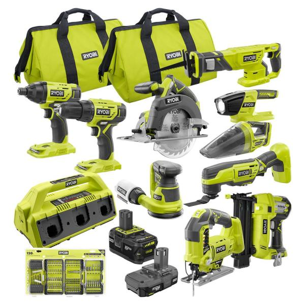 ONE+ 18V Cordless 11-Piece Combo Kit with (3) Batteries, 6-Port Charger, 120-Piece Drill and Impact Rated Drive Kit