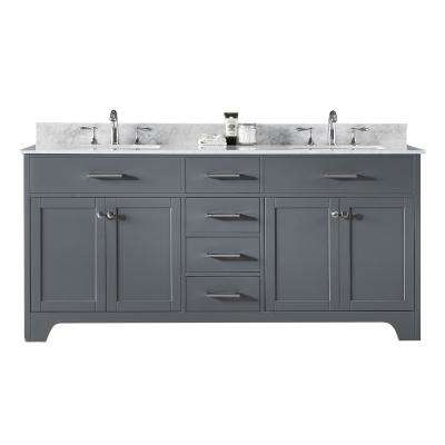 Clariette 72 in. W x 22 in. D x 34.21 in. H Bath Vanity in Cashmere Grey with Marble Top in White with White Basins