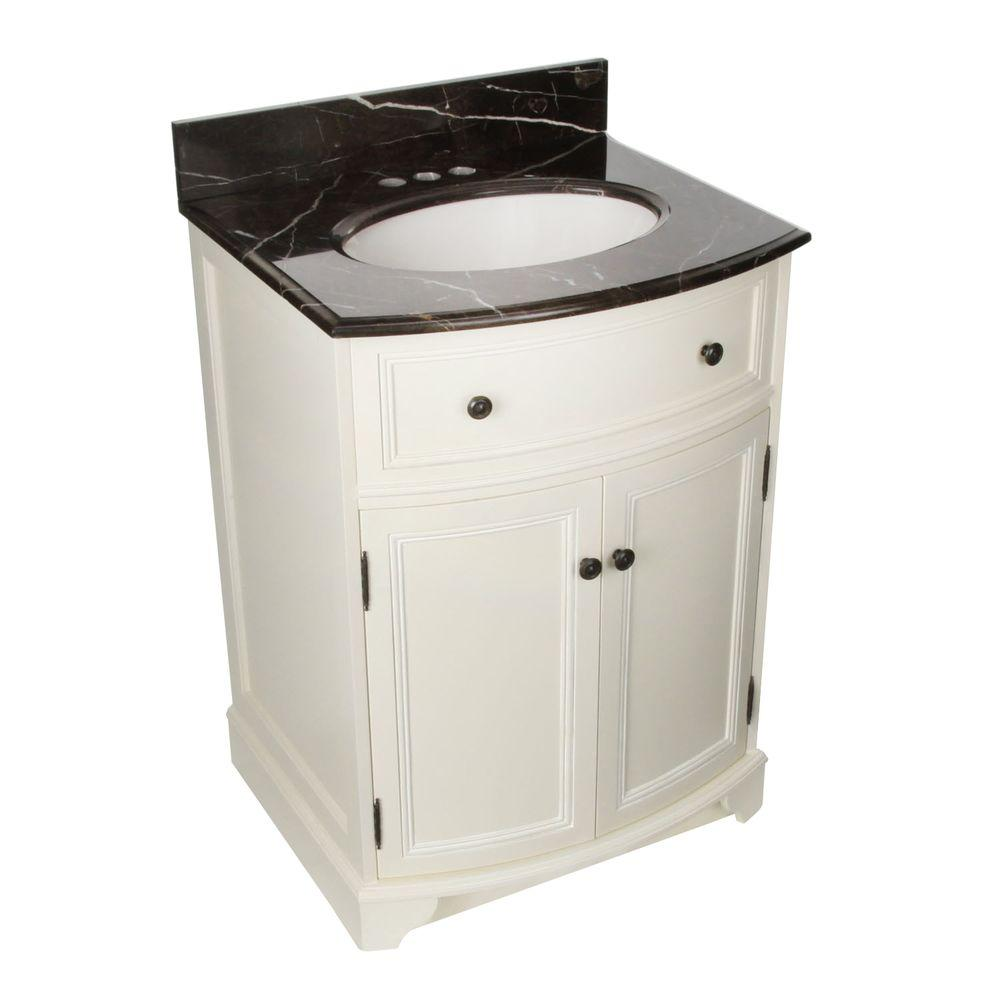 Foremost Arcadia 25-1/4 in. Vanity in Frost White with Vanity Top in Dark Emperador and Sink in Biscuit-DISCONTINUED
