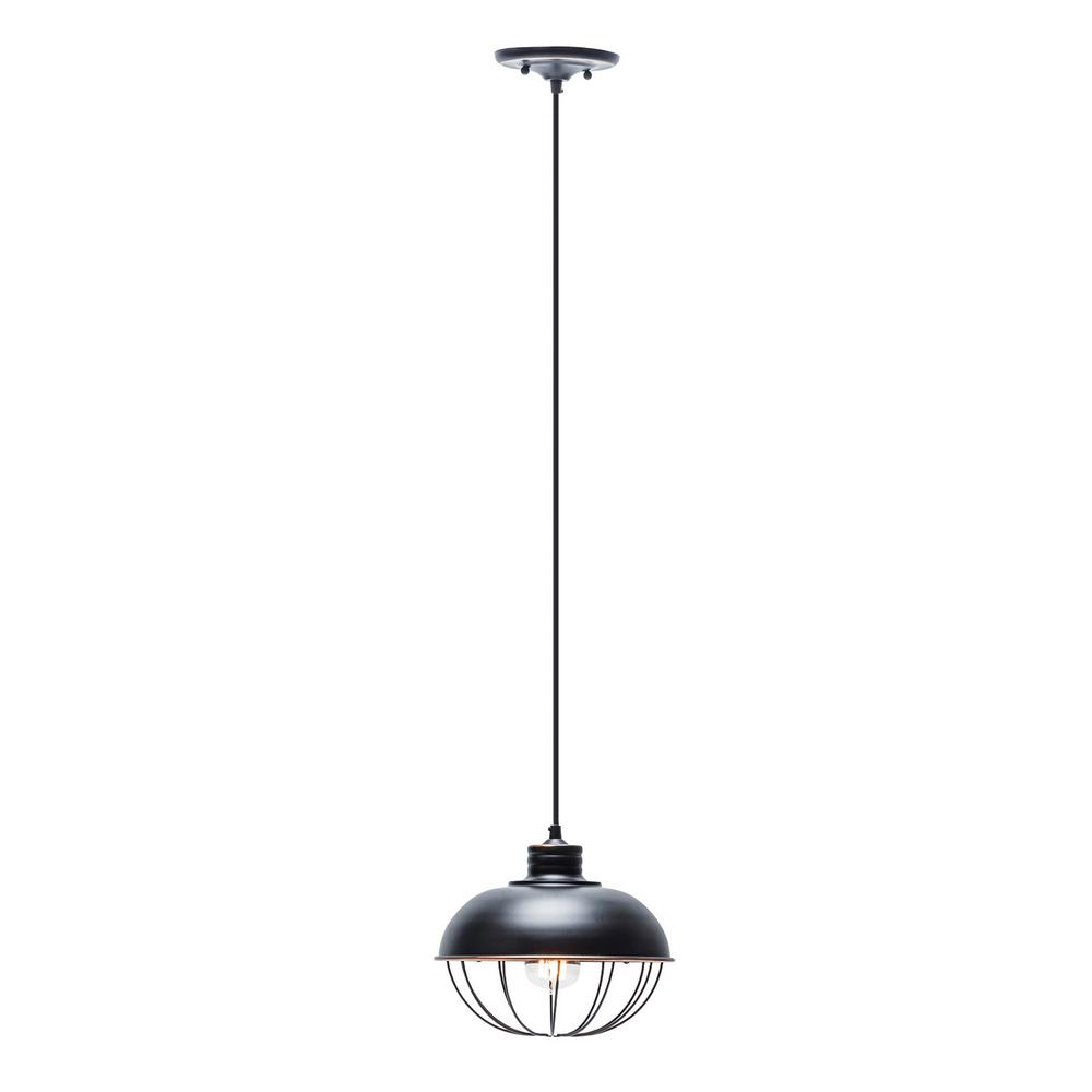 1-Light Oil-Rubbed Bronze Vintage Hanging Half-Moon Caged Pendant with Black Cord