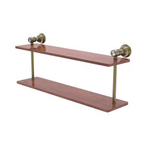 Allied Brass Carolina Crystal 22 In 2 Tiered Wood Shelf In Antique Brass Cc 2 22 Irw Abr The Home Depot