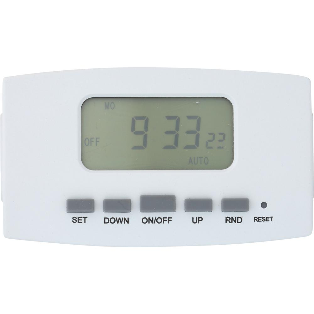 westek 8 amp 7 day indoor plug in digital bar timer with dual8 amp 7 day indoor plug in digital bar timer with dual outlets, white