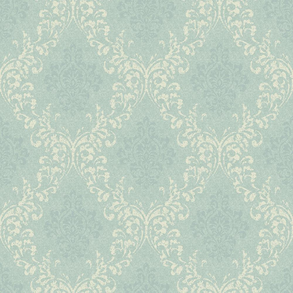 Chesapeake Golden Blue Damask Wallpaper Sample