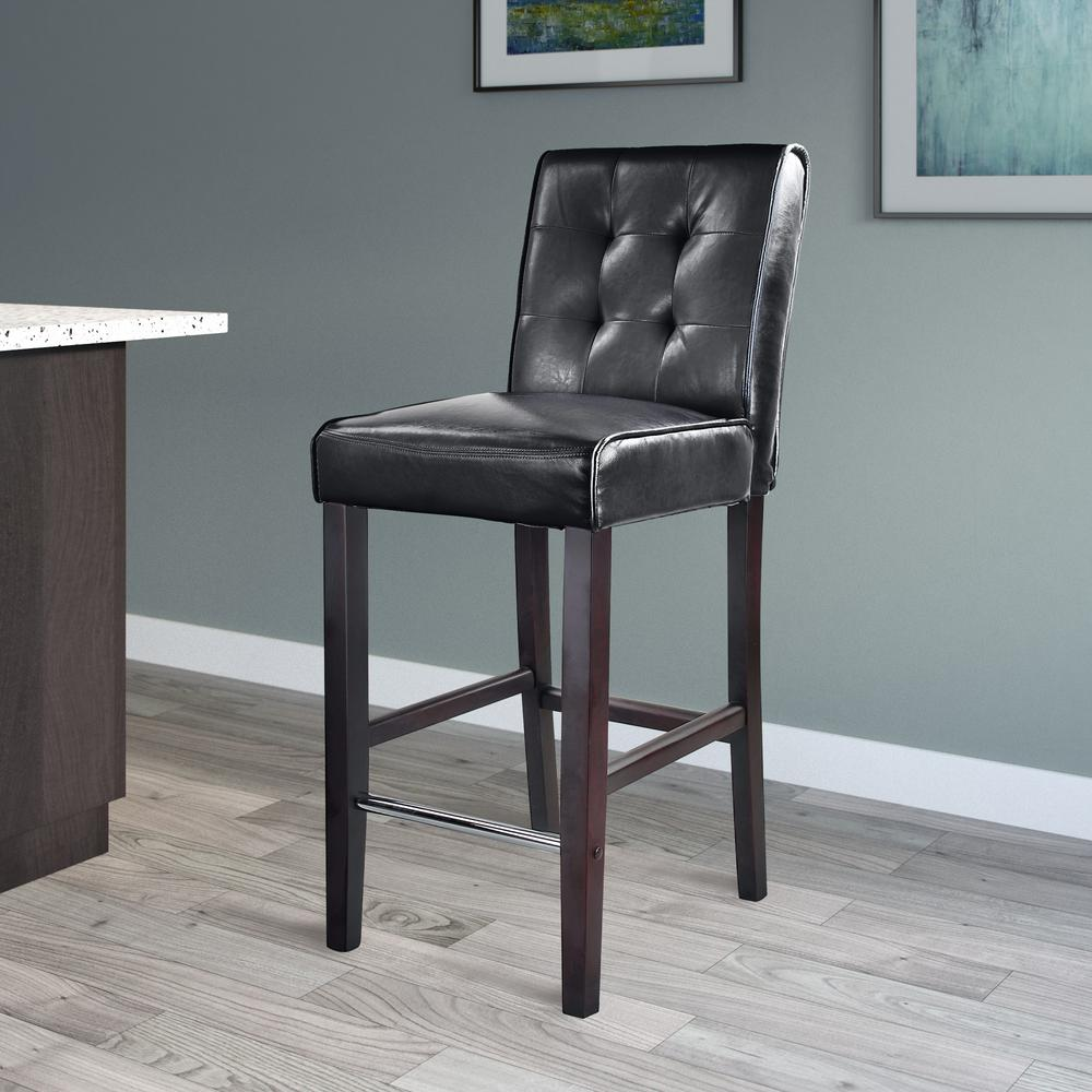 CorLiving CorLiving Antonio 31 in. Bar Height Black Bonded Leather Bar Stool