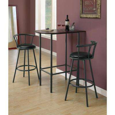 29 in. Black Swivel Cushioned Bar Stool