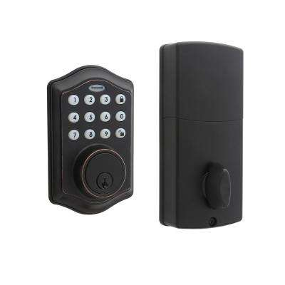 Electronic Keypad Oil Rubbed Bronze Single Cylinder Deadbolt Lock