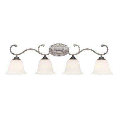 4-Light Rubbed Silver Vanity Light with Etched White Glass
