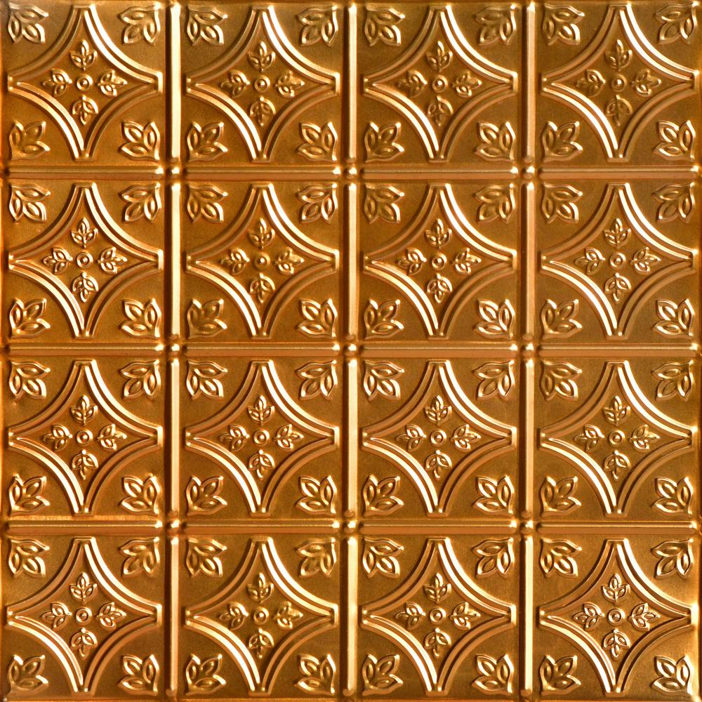 From Plain To Beautiful In Hours Tiny Tiptoe 2 Ft X 2 Ft Nail Up Tin Ceiling Tiles Surface Mount Lincoln Copper 48 Sq Ft Case Skpc209 Lnop 24x24 N 12 The Home Depot