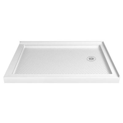 SlimLine 36 in. D x 60 in. W Double Threshold Shower Base in White with Right Hand Drain